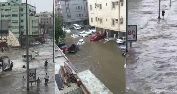 شاهد الفيديو: الأمطار تغرق مدينة جدة السعودية