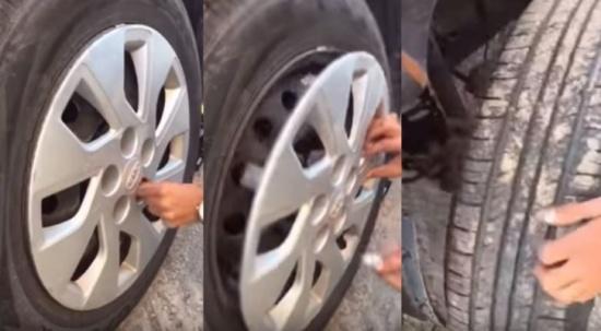 ماذا عثر شاب في عجلة سيارته بعد ان خلع الجنط والكفر