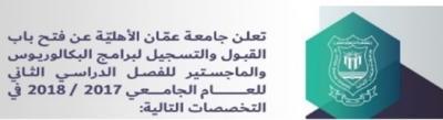 اعلان صادر عن جامعة عمان الاهلية..