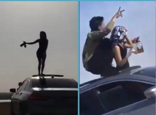 شاب يتفاخر بفتاة ترقص وهي مخمورة على سيارته ال BMW