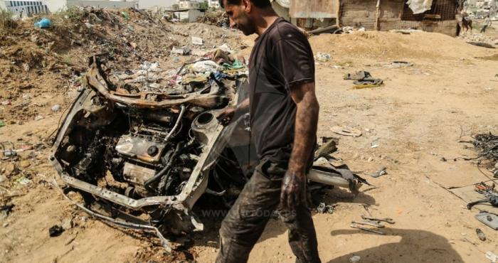 طائرة استطلاع إسرائيلية تقصف مركبة فارغة شرق مدينة غزة