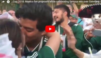 مشجع مكسيكي يفاجئ صديقته بعد فوز منتخب بلاده على ألمانيا