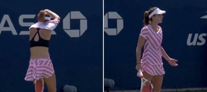 لاعبة تنس محترفة خلعت قميصها أمام الجمهور فوجه الحكم لها تحذيراً !