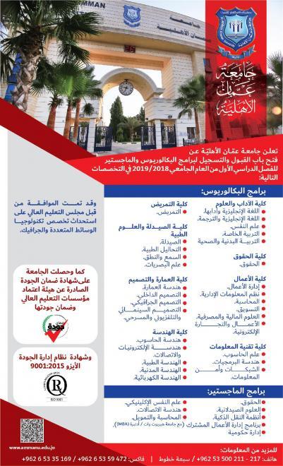 اعلان عن فتح باب القبول والتسجيل في جامعة عمان الاهلية