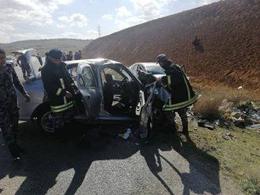 إصابة أربعة أشخاص اثر حادث تصادم في المفرق