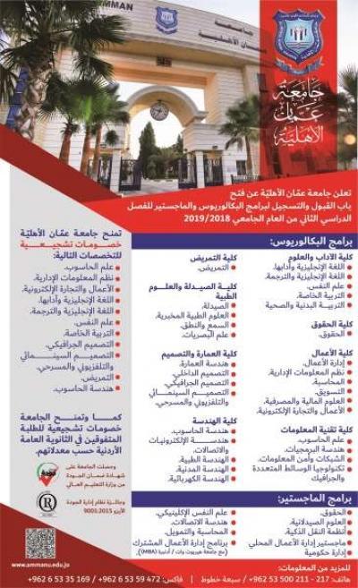 فتح باب القبول والتسجيل لبرامج البكالوريوس والماجستير في جامعة عمان الاهلية