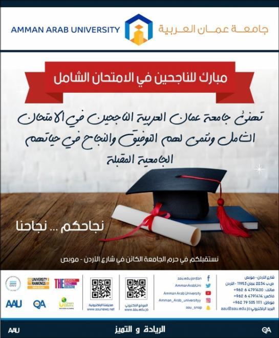 رئيس وأسرة جامعة عمان العربية يهنئون الناجحين في امتحان الشامل