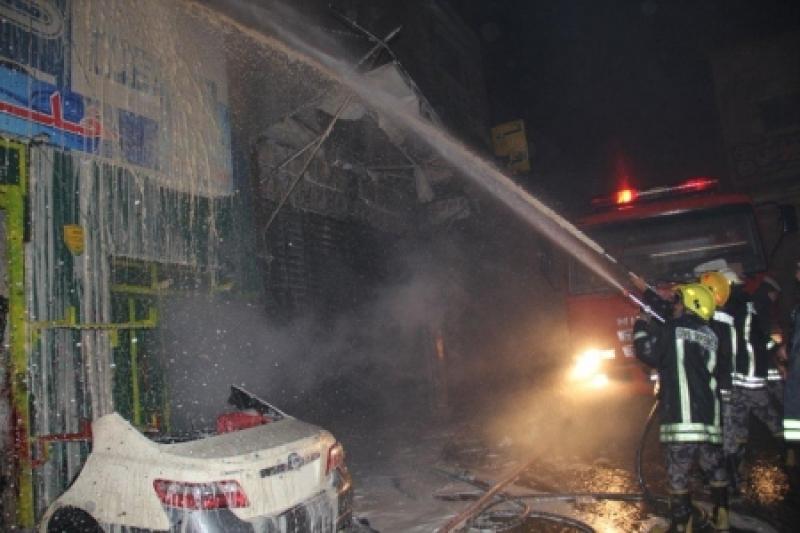 بالصور...إخماد حريق فرن دهان ومحل قطع سيارات ومستودع تخزين في القويسمة