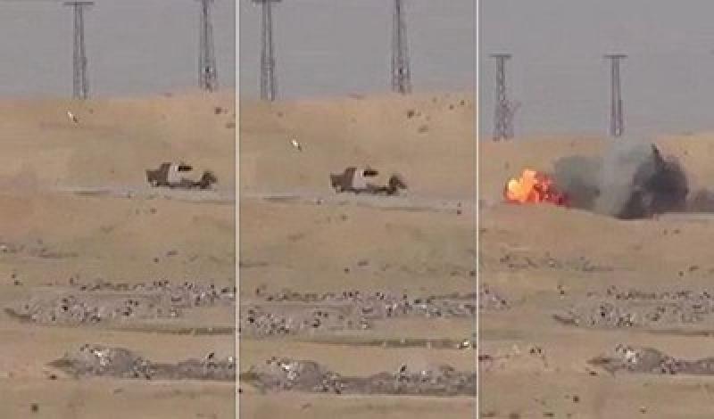 بالفيديو.. سيارة داعشي تنفجر بصاروخ قبل وصولها لهدفها